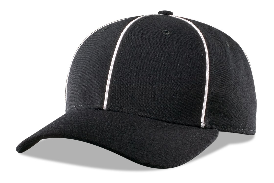 Officials Pulse Flexfit Cap Black With White Piping