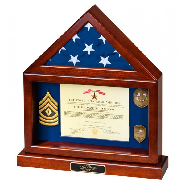 Flag Case with Large Shadow Box and Base - Shadow Boxes