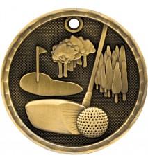 "2"" 3D Golf Medal"