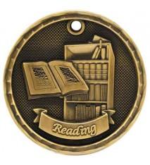 """2"""" 3D Reading Medal"""
