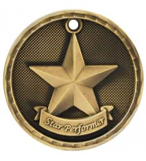 "2"" 3D Star Performer Medal"