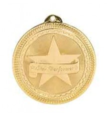 "2"" Star Performer Laserable BriteLazer Medal"