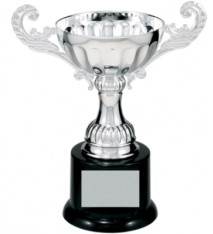 "6 1/2"" Silver Completed Metal Cup Trophy on Plastic Base"