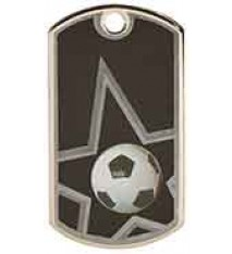 "2"" Black/Silver Soccer Laserable Star Dog Tag"