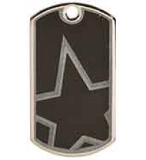 "2"" Black/Silver Star Laserable Star Dog Tag"