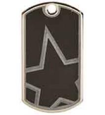 "2"" Black/Silver Star Laserable Star Dog Tag"