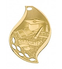 "2 1/4"" Graduate Laserable Flame Medal"