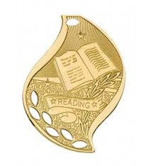 "2 1/4"" Reading Laserable Flame Medal"
