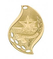 "2 1/4"" Star Performer Laserable Flame Medal"
