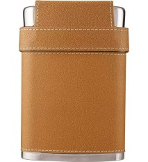 7 OZ LEATHER FLASK W/LID