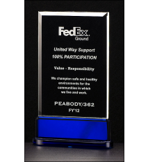 Premium Series Clear and Blue Glass Award
