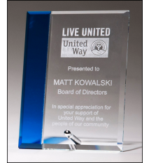 Clear Glass Standing Plaque with Blue Accent