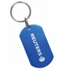 BLUE ALUMINUM DOG TAG WITH KEYRING