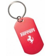 RED ALUMINUM DOG TAG WITH KEYRING