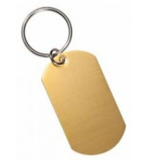 GOLD ALUMINUM DOG TAG WITH KEYRING