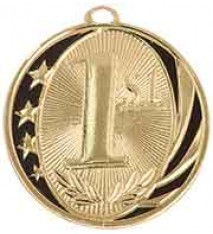 "2"" Gold 1st Place Laserable MidNite Star Medal"