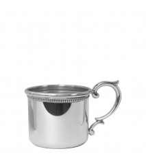 Straight Baby Cup with Scroll Handle and Beading, 5 oz.