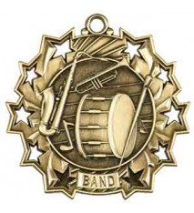 "2 1/4"" Band Ten Star Medal"
