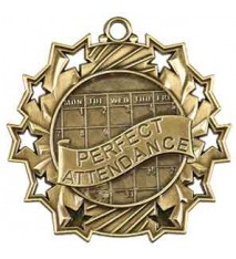 "2 1/4"" Perfect Attendance Ten Star Medal"
