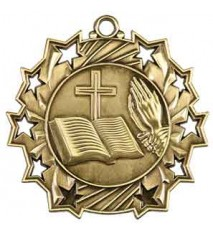 "2 1/4"" Religious Ten Star Medal"