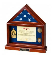 Flag Case with Large Shadow Box and Base
