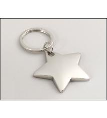 Polished Silver Star Keyring