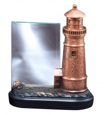 RESIN LIGHT HOUSE W/GLAS