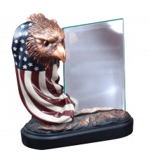 RESIN EAGLE & FLAG W/GLA