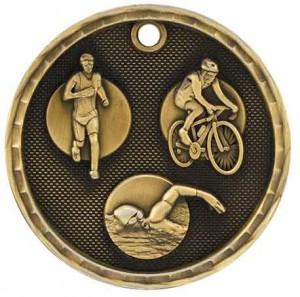 """2"""" 3D Triathlon Medal"""