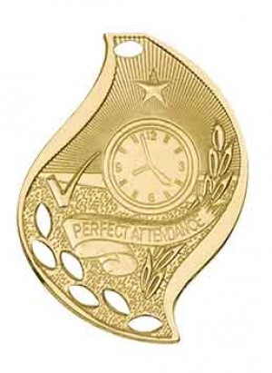 """2 1/4"""" Perfect Attendance Laserable Flame Medal"""