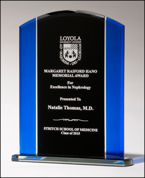 Arched Black and Blue Glass Award